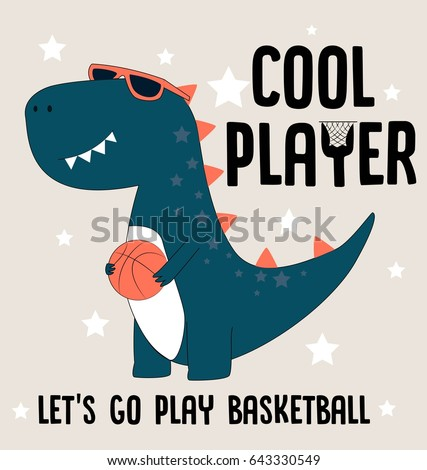 cool player dino illustration vector for print design or other uses - Pictures For Print