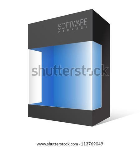 Cool Realistic Black Package Cardboard Box with a transparent plastic window. Vector illustration