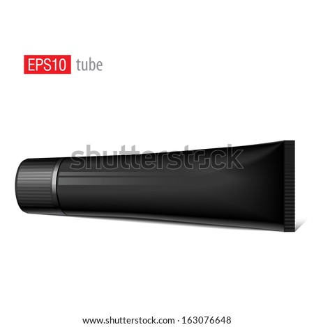 Cool Realistic black tube with a wide cap. For cosmetics, ointments, cream, tooth paste, glue. Vector elements