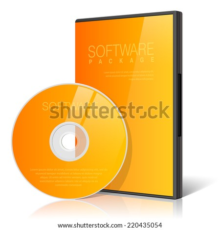 Cool Realistic Case for DVD Or CD Disk with DVD Or CD Disk. Text, reflection and background on separate layers. Vector Illustration - stock vector