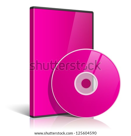 Cool Realistic Pink Case for DVD Or CD Disk with DVD Or CD Disk. Text, reflection and background on separate layers. Vector Illustration - stock vector