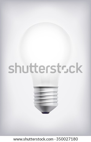 Cool realistic vector idea or creativity symbol electric light bulb on blank background. Ideal as illustration template for ideas, creativity and mind work