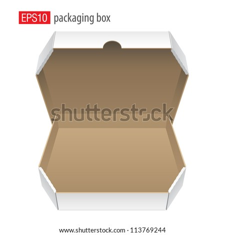 Cool Realistic White Opened Package. Cardboard Box for pizza. isolated on white background. Vector illustration - stock vector