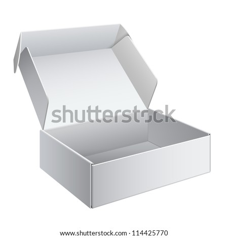 Cool Realistic White Package Cardboard Box Opened. For Software, electronic device and other products. Vector illustration - stock vector