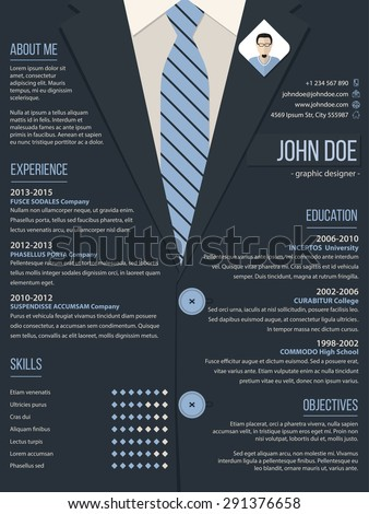 Cool resume cv curriculum vitae template design with business suit background - stock vector