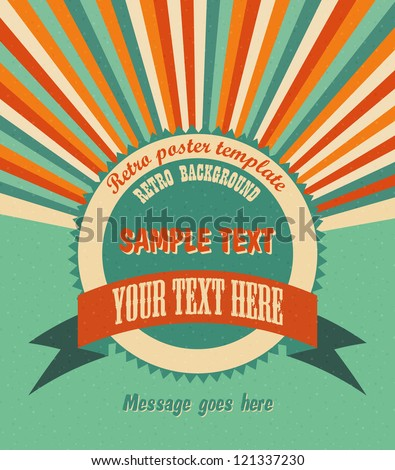 Cool retro background with radial rays and a round placeholder for your text. EPS10 vector. - stock vector