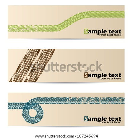 Cool retro banners with tire track design - stock vector