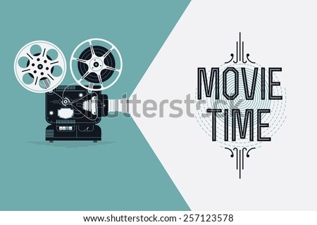 Cool retro movie projector vector detailed poster, leaflet or banner template with sample text | Analog device: cinema motion picture film projector with different film reels - stock vector