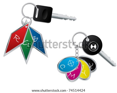 Cool RGB and CMYK keyholders - stock vector
