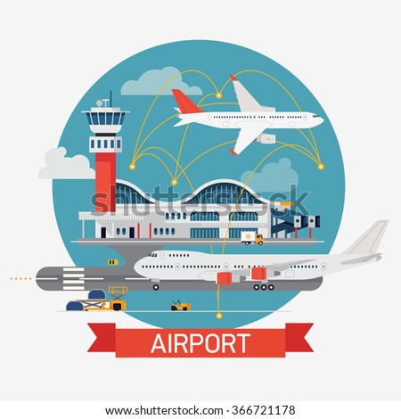 Cool round circle design element on airport terminal with control tower and planes. Airways transport and travel flat design vector illustration - stock vector
