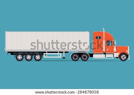 Cool semi-trailer truck with sleeper towing engine transport web icon or design element with american tractor unit pulling semi-trailer, side view, isolated | Freight transportation illustration  - stock vector