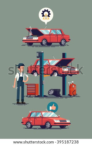 Cool set of car repair shop and auto service vector illustrations. Technical maintenance flat concept layout with mechanic character standing next to car lift, broken and ready to use repaired car - stock vector