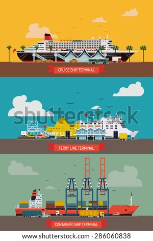 Cool set of creative vector detailed ferryboat ship, cruise transatlantic liner and container port terminals. Ideal for seaway connection, global business shipment and transit themed graphic design - stock vector