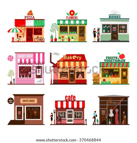 Cool set of detailed flat design city public buildings. Restaurants and shops facade icons. Pizza, flowers, books, candy shop, bakery, fruits and vegetables, coffee house, cafe and boutique. Vector - stock vector