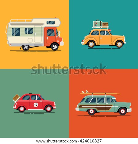 Cool set of leisure, road trip summer vacation retro cars and vehicles in flat design with camping caravan motorhome, vintage two door sedan with luggage suitcases on roof rack, surf car with boards - stock vector