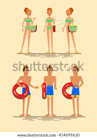 Cool set of young people female, male summer beach resort characters. Beach girl in different views: sexy blondie woman in blue swimsuit, beach boy in different views. Beach vacation couple posing - stock vector