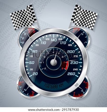 Cool shiny speedometer with rev counter and race flags - stock vector
