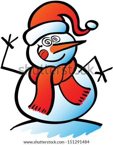 Cool snowman sticking his tongue out and doing crazy eyes in a surprising and funny expression  - stock vector