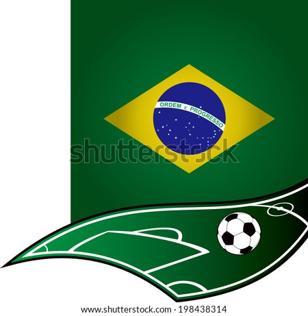 cool soccer with brazil flag