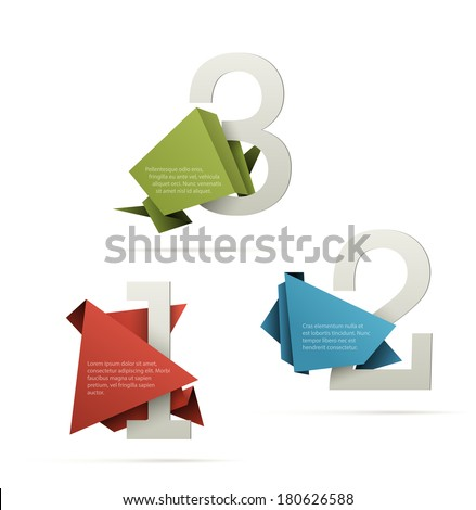 Cool step by step presentation template. Big numbers wrapped with origami style paper placeholders. EPS10 vector image. - stock vector