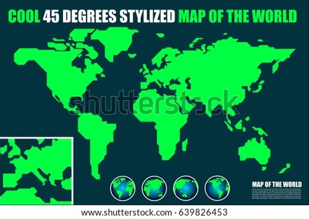 Cool stylized world map earth globe stock vector 639826453 cool stylized world map earth globe 45 degrees style gumiabroncs Gallery
