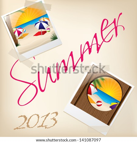Cool summer wallpaper with pictures taped to background