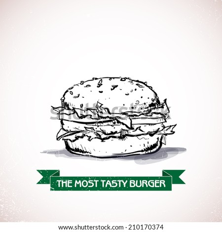 Cool tasty hamburger. Sketch style. Vector illustration. - stock vector