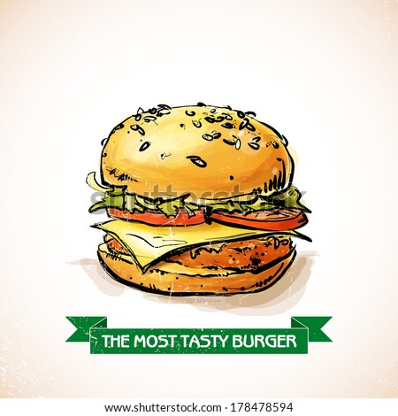 Cool tasty hamburger. Sketch + watercolor style. Vector illustration. - stock vector
