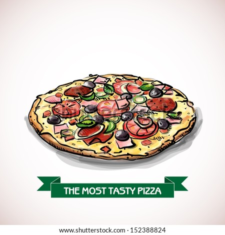 Cool tasty pizza. Sketch + watercolor style. Vector illustration. - stock vector