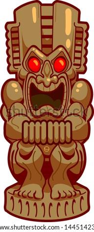 Cool Tiki Statue - stock vector