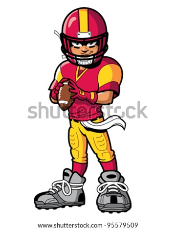 cool tough american football player quarterback with smile and attitude - stock vector