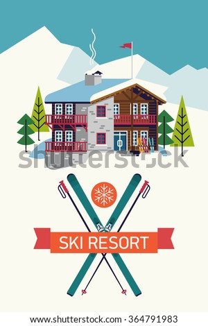 Lodging stock vectors images vector art shutterstock for Ski designhotel