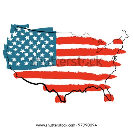 Cool USA map with US flag - stock vector