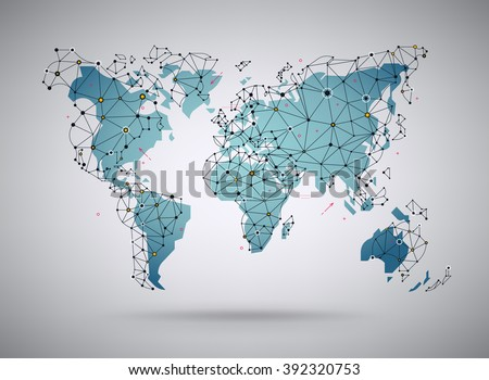 Cool vector abstract world map background vector de stock392320753 cool vector abstract world map background stylized world map illustration with wireframe polygonal mesh elements gumiabroncs Image collections