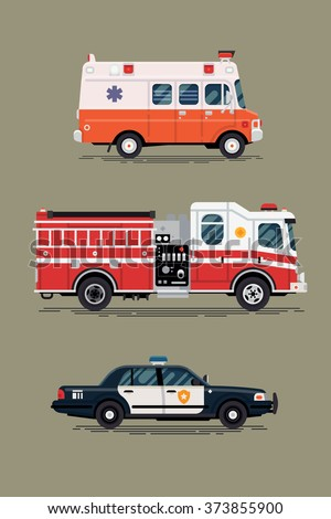 Cool vector ambulance emergency paramedic car, police department vehicle and fire engine truck in flat design icons, isolated. City emergency and public safety vehicles - stock vector