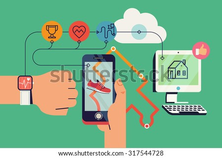 Cool vector background on run tracking application user with fitness wrist bracelet and mobile device with track displayed connected to cloud service data export and various device synchronization - stock vector