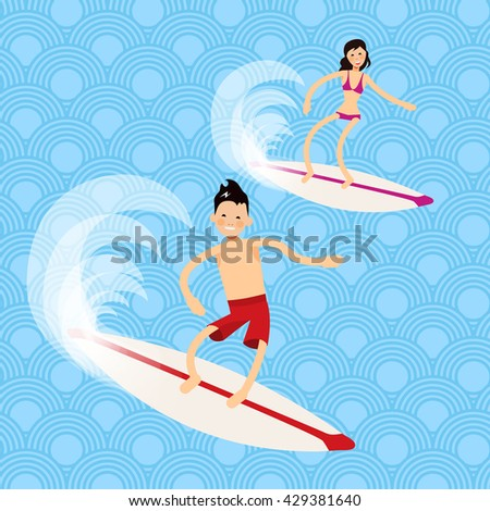 Cool vector boy and girl surfer character in surf trunks with surfboard standing and riding on ocean wave. Recreational beach water sport flat design character on surfing. Man and women on vacation - stock vector