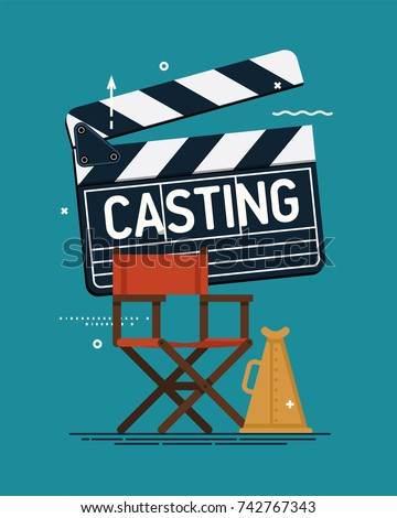 Cool vector casting concept illustration. Movie producing, film direction, studio shooting stage design elements. Director's chair, loud speaker and clapper board