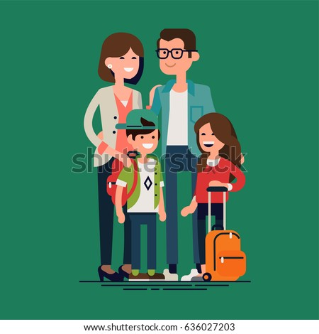 Cool vector character illustration on parents with kids ready for school. Group portrait of mother, father and small siblings with school backpacks. Cheerful primary school boy and girl with parents
