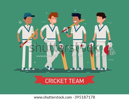 Cool vector concept background on cricket team characters with equipped players wearing white clothes, pads, bats, helmet and more. Professional cricket players team in trendy flat design - stock vector