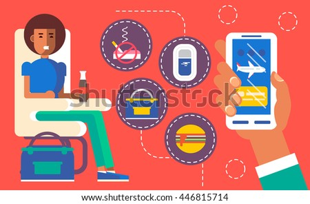 Cool vector concept design on choosing airplane cabin seat and flight conditions using mobile device or web application featuring cabin seat, mobile device in hand with airplane on screen. Flat style. - stock vector