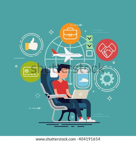 Cool vector concept design on man working online using inflight WiFi. Flier traveler using onboard internet provided by airline. Man using laptop in cabin seat while traveling by airplane illustration - stock vector