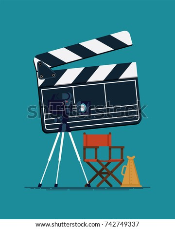 Cool vector concept design on movie producing, film direction, studio shooting stage items