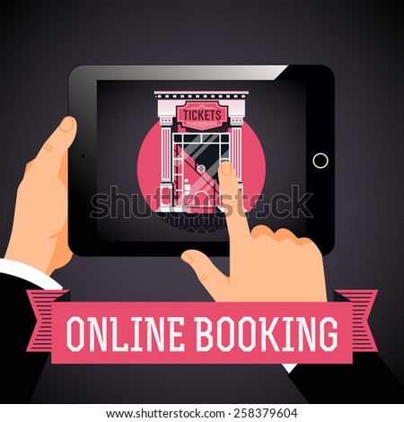 Cool vector concept design on online admission tickets booking and purchasing with hands holding tablet with cinema theater box office on screen - stock vector