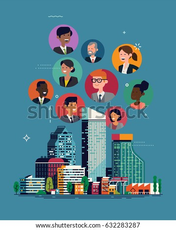 Cool vector concept illustration on citizens. Big city people living together happily. Diverse people of the city. Modern society flat design layout featuring abstract city skyline and character icons