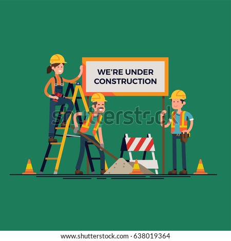 Cool vector concept illustration on 'We Are Under Construction' message featuring workers team doing their job. Ideal for web site 'Under Construction' page