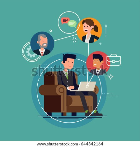 Cool vector concept layout on conference call featuring office worker characters. Online meeting or discussion using web applications. Man chatting with colleagues using laptop
