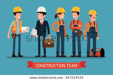 Cool vector concept layout on construction team characters line-up. Group of construction workers in hard hats friendly smiling. Civil engineer, architect and construction workers characters group - stock vector
