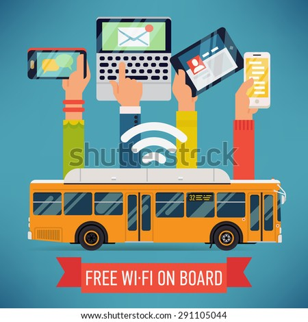 Cool vector detailed creative concept design on city bus with wi-fi access. Internet in mass transit and transport - stock vector