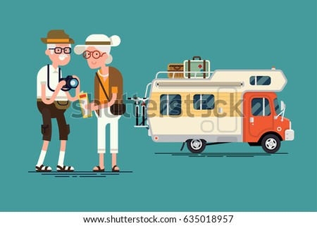 Cool vector elderly couple caravan road trip concept flat design elements. Trendy character design on grandparents having summer holidays trip. senior age travelers